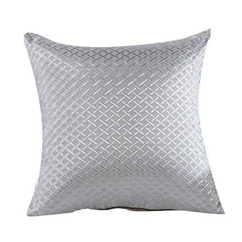 Elegant Hot Grid Throw Pillow Case Home Sofa Decorative Cushion Cover Grey (Grey Cushion)