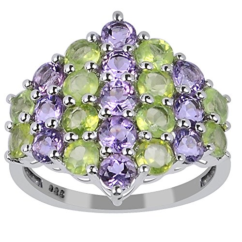 Orchid Jewelry 925 Sterling Silver Ring 3.55ct TGW Genuine Amethyst & Peridot