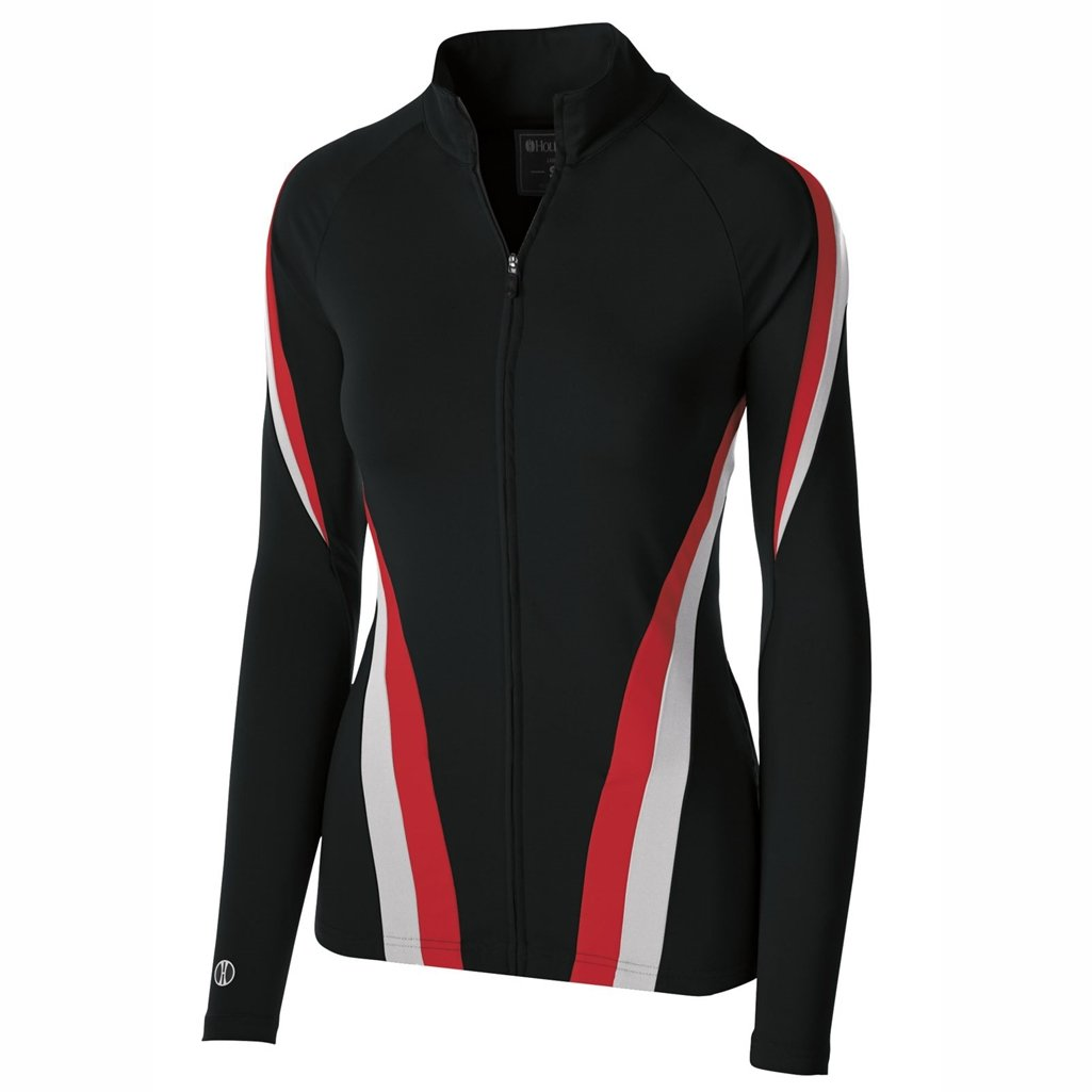 Holloway Dry Excel Girls Aerial Semi Fitted Jacket (Large, Black/Silver/Scarlet) by Holloway