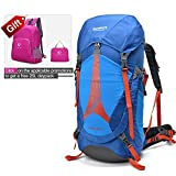 Cheap REDCAMP Hiking Backpack Waterproof,Daypack Backpack with Rain Cover for Hiking Camping Travel,Blue 45L