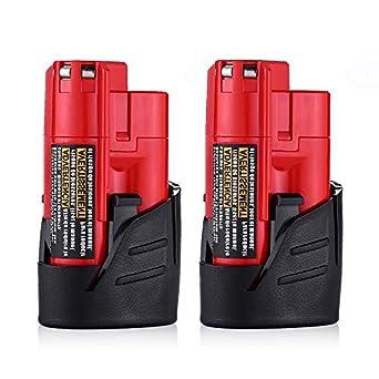 Amazon.com: 2 Paquetes M12 batería para MILWAUKEE 12 V, 2.0 ...