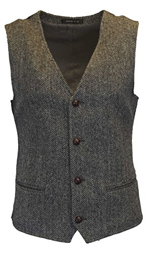 Walker & Hawkes - Mens Classic Scottish Harris Tweed Herringbone Country Waistcoat Vest - Steel Gray - 40