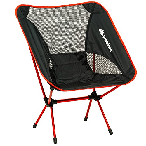 Wealers Lightweight Aluminium Alloy Foldable Beach Backpacking Potable Chair, Red