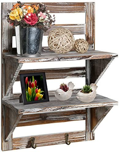 MyGift Rustic Wood Wall Mounted Organizer Shelves w 2 Hooks, 2-Tier Storage Rack, Brown