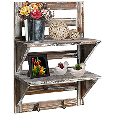 Country Rustic Brown Wood Wall Mounted 2-Tier Storage Organizer Shelves w/ 2 Hanging Hooks - MyGift® Home