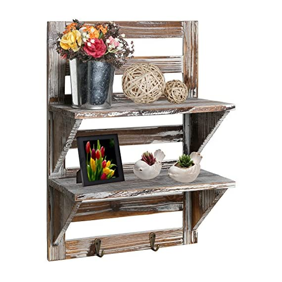 MyGift Rustic Wood Wall Mounted Organizer Shelves w/ 2 Hooks, 2-Tier Storage Rack - Add a country rustic flair to any wall space in your home with this charming brown wood wall mounted 2-tier shelf. Easy to hang on any wall space with appropriate hardware (hardware not included). Display all your favorite memorabilia and use the hooks for convenience of hanging your scarf, hats or keys. - wall-shelves, living-room-furniture, living-room - 51N6SfWxvLL. SS570  -