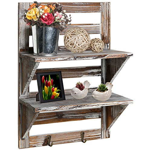 MyGift Rustic Wood Wall Mounted Organizer Shelves w/ 2 Hooks, 2-Tier Storage -