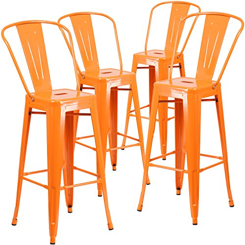Flash Furniture 4 Pk. 30'' High Orange Metal Indoor-Outdoor Barstool with Back