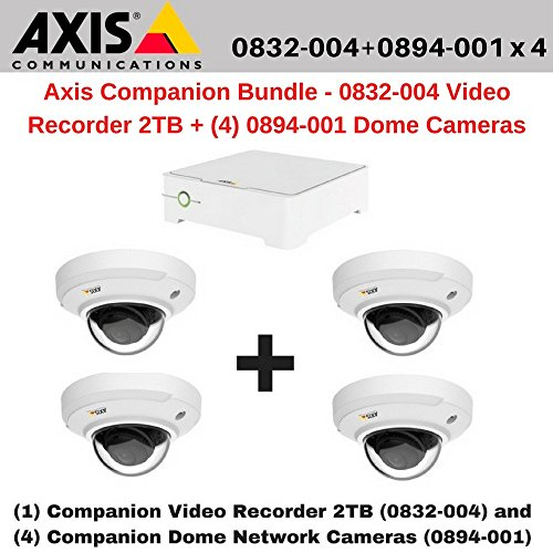 Axis Video Surveillance (Axis Companion Bundle - 0832-004 Video Recorder 2TB + (4) 0894-001 Dome Cameras)