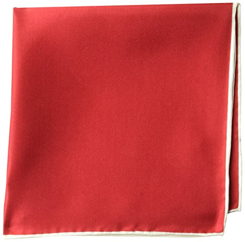 BUTTONED DOWN Men's Classic Silk Hand Rolled Pocket Square, solid red/white, One Size for $<!--$10.79-->