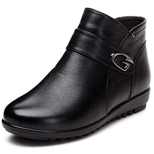 GTVERNH-En el viejo Cotton botas en invierno con cálida cachemira suave fondo zapatos botas zapatos planos abuela mamáCuarentaBlack Cuarenta|Black