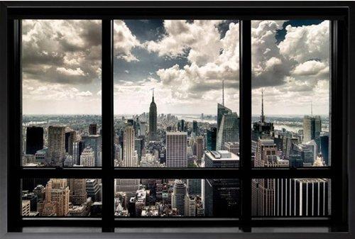 Framed New York City- Window 36x24 Wood Framed Poster Art Print Chrysler Building