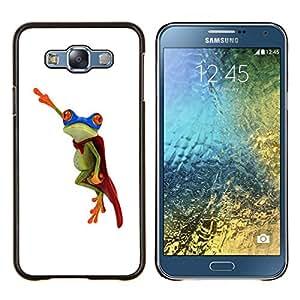 Stuss Case / Funda Carcasa protectora - Flying Frog héroe blanco minimalista - Samsung Galaxy E7 E700