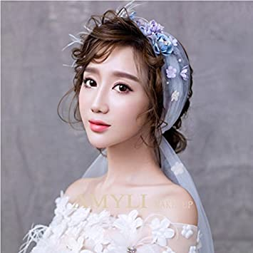 Amazon.com   Korean bridal flower hair accessories wedding dress with a crown  of flowers color lovely bride headdress ornaments for women girl lady    Beauty 85faa0b8483