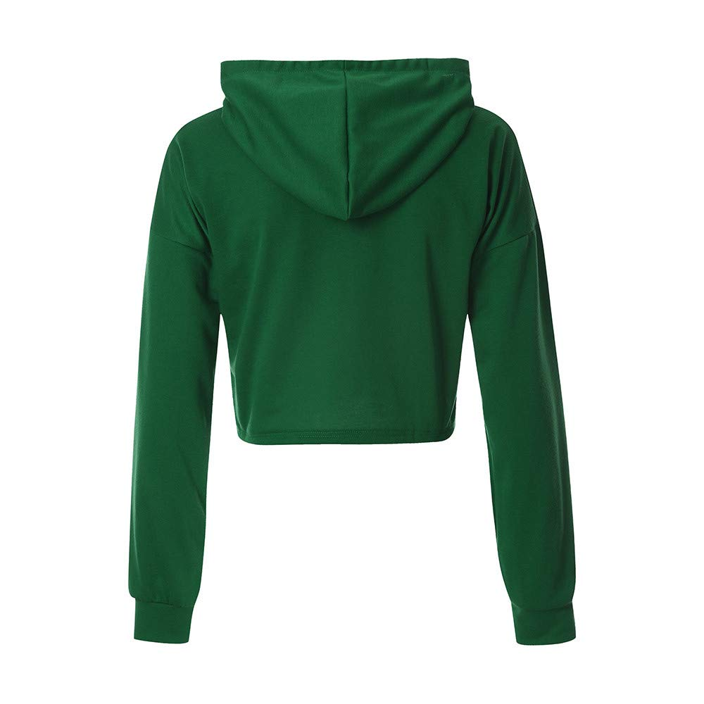 f3a27b92 Amazon.com: Inkach Crop Tops Pullover Hoodies, Women's Drawstring Long  Sleeve Hooded Sweatshirt Blouse Shirts Sportwear (XL, Green): Arts, Crafts  & Sewing