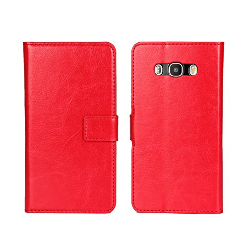 Galaxy J5 (2016) Funda,COOLKE Retro PU Leather Wallet With Card Pouch Stand de protección Funda Carcasa Cuero Tapa Case Cover para Samsung Galaxy J5 (2016) 5.2 - Rose Rojo