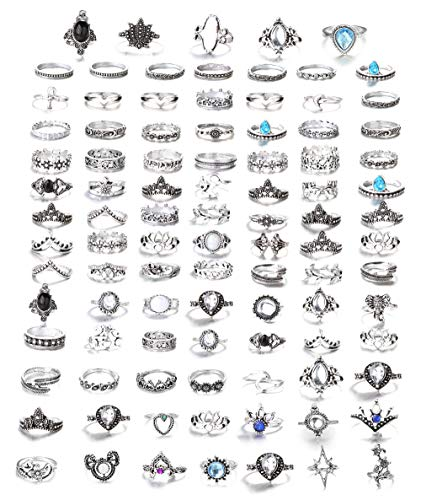 FIBO STEEL 101 Pcs Vintage Knuckle Rings for Women Girls Stackable Midi Finger Ring Set (B1: 101 Pcs a Set) (Rings)