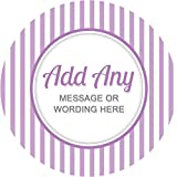 Stripes Light Purple Sticker Labels Personalised Seals Ideal for Party Bags, Sweet Cones, Favours, Jars, Presentations Gift Boxes, Bottles, Crafts