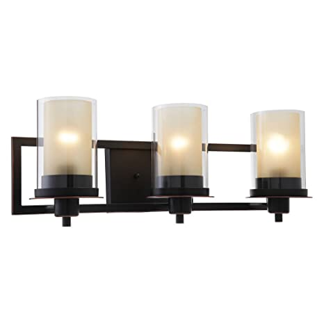 Designers Impressions Juno Oil Rubbed Bronze 3 Light Wall Sconce Bathroom Fixture With Amber And