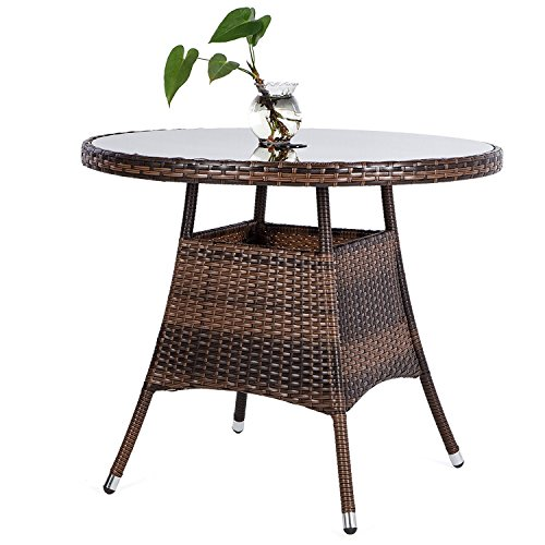 KELIXU Round Patio PE Brown Wicker Dining Table Tempered Glass Top Umbrella Stand Table Outdoor Furniture Garden Table Backyard Pool Balcony Porch,Brown 36″ …