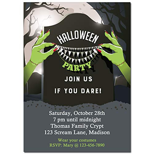 Halloween Party Invitation - Halloween Invitation - Halloween Graveyard Collection]()