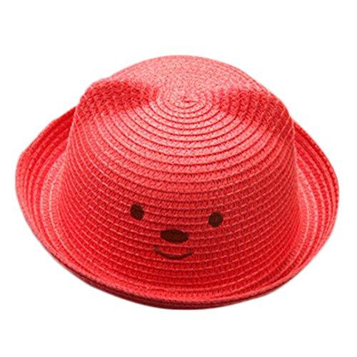 (Baby Sun Hat,Kids Toddler Boy Girls Cat Ears Summer Straw Hat Bucket Sun Protection Cap (Red))