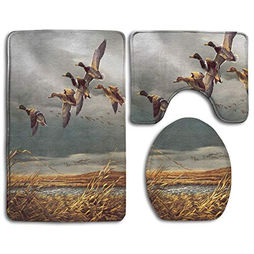CHUFZSD Hunting Flying Wild Ducks Bathroom Carpet Rug 3 Piece Soft Family Flannel Bath U Contour Non-Slip Mat Set Lid Toilet Cover