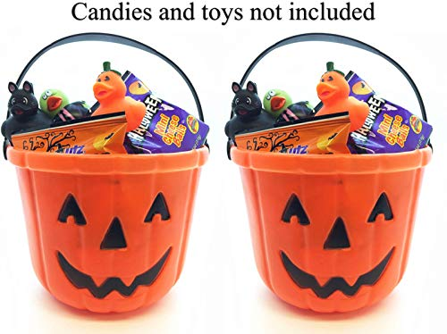 GiftExpress Pack of 2, Halloween Trick or Treat Buckets, Jack O Lantern Candy Buckets, Pumpkin Pails -