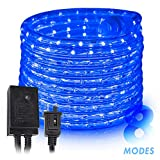 West Ivory 10', 25', 60', 150' ft (150' feet) Blue LED Rope Lights w/ 8 Mode Controller 2 Wire Accent Holiday Christmas Party Decoration Lighting | UL Certified