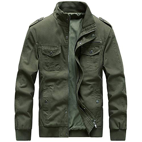 Military Outerwear - Womleys Mens Casual Windbreaker Outerwear Military Jackets Cotton Outdoor Coat (X-Small, A-Green)