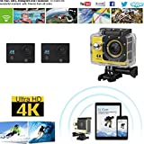 Hongfei (yellow) Action Camera, 4K Ultra HD Waterproof Sport Camera 2 Inch LCD Screen 12MP 90 Degree Wide Angle