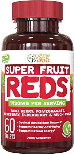SuperFruit Reds Antioxidant Supplement (30 Day Supply) | Powerful Vital Superfood Anti-Aging* Antioxidant Blend | Acai Berry, Goji Berry, Noni, Mangosteen, Pomegranate, Blueberry, Trans Resveratrol