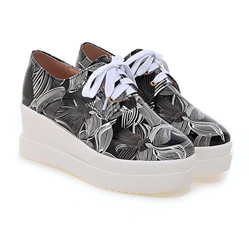 Amoonyfashion Pelle Verniciata Quadrata Punta Chiusa Scarpe Stringate-scarpe Con Lacci Nere