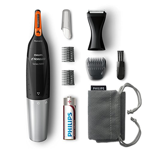 Philips Norelco Nose Hair Trimmer 5100, NT5175/42, Washable Mens Precision Groomer for Nose, Ears, Eyebrows, Neck, and Sideburns