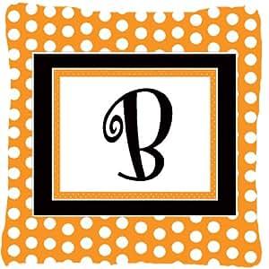 Caroline's Treasures CJ1033-BPW1414 Monogram Initial B Orange Polka Dots Fabric Pillow, Large, Multicolor