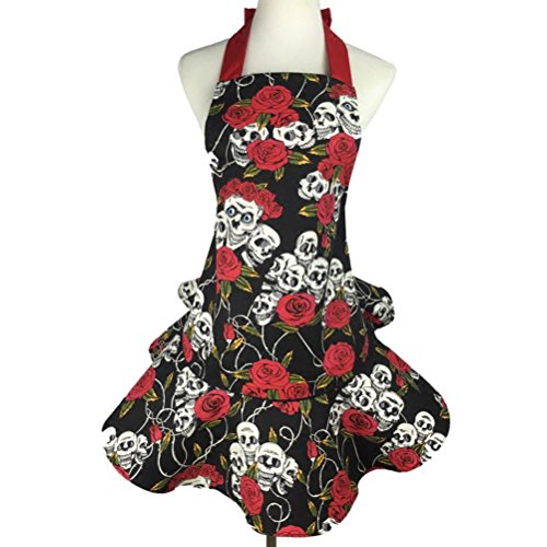 Retro Fashion Vintage (Women's Kitchen Apron,Roses Skull Print Skirt Cute Apron,Retro Vintage Fashion Lovely Floral Garden Apron with Adjustable Neck Tie)