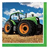 Creative Converting 318051 16 Count Tractor Time Paper Lunch Napkins, Multicolor