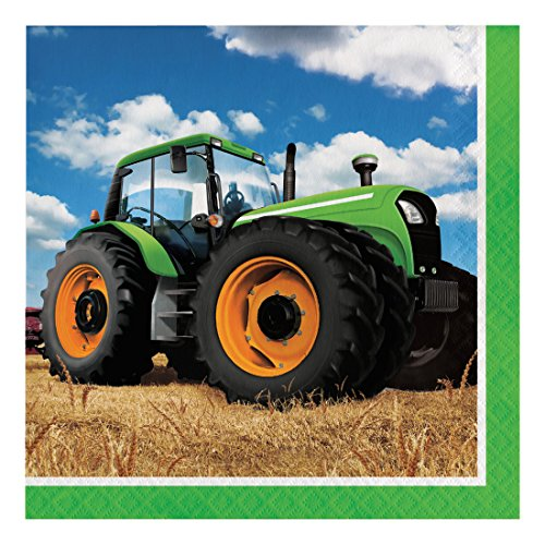Creative Converting 318051 Tractor Time Paper Lunch Luncheon Napkins, 6.5