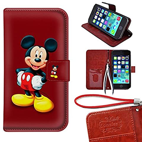 iPhone 5C Wallet Case, Onelee - Mickey Mouse Premium PU Leather Case Wallet Flip Stand Case Cover for iPhone 5C with Card (Disney Cell Phone Cases Iphone 5c)