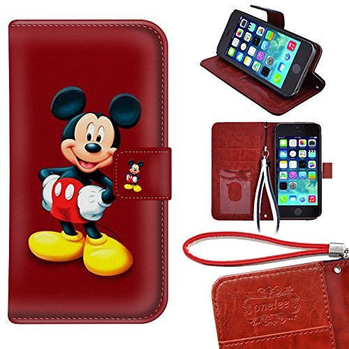 iPhone 5s Wallet Case, Onelee - Mickey Mouse Premium PU Leather Case Wallet Flip Stand Case Cover for iPhone 5 5s with Card Slots