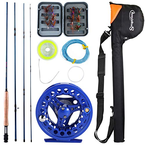 Sougayilang Saltwater Freshwater Fly Fishing Rod with Reel Combo -