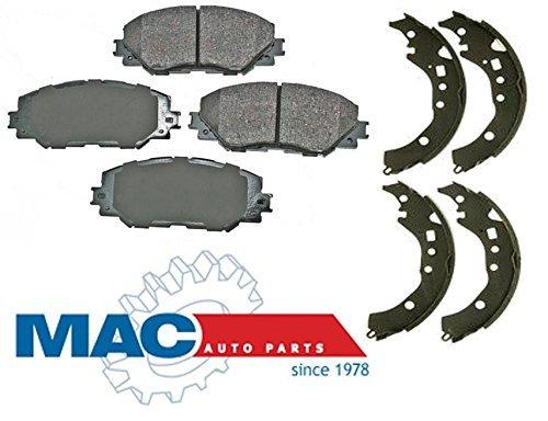 Mac Auto Parts 144282 XD Corolla Prius Front Ceramic Brake Pad Set and Rear Metallic Brake Shoe (Scion Brake Shoe Set)