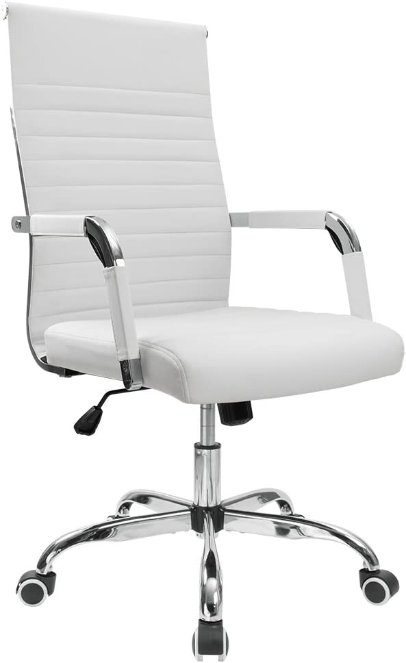 Furmax Ribbed Office Desk Chair Mid-Back PU Leather Executive Conference Task Chair Adjustable Swivel Chair with Arms (White): Home & Kitchen