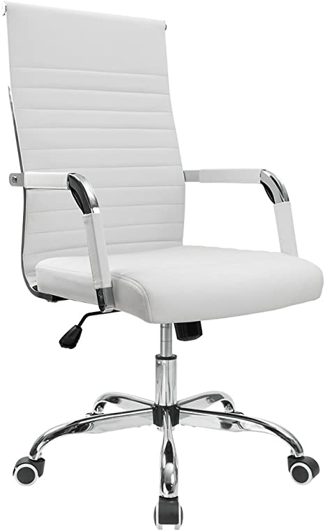Furmax Ribbed Office Desk Chair Mid Back Pu Leather Executive Conference Task Chair Adjustable Swivel Chair With Arms White Home Kitchen