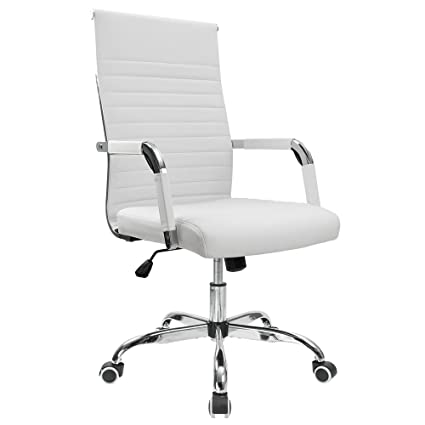 Review Furmax Ribbed Office Desk Chair Mid-Back Leather Executive Conference Task Chair Adjustable Swivel Chair With Arms (White)