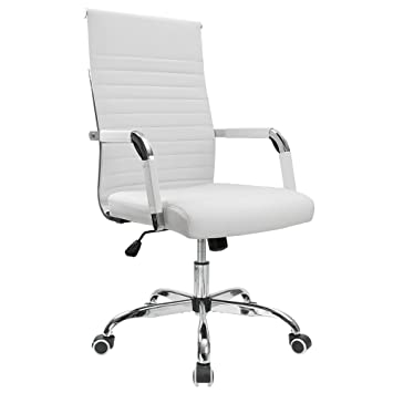 Remarkable Furmax Ribbed Office Desk Chair Mid Back Pu Leather Executive Conference Task Chair Adjustable Swivel Chair With Arms White Dailytribune Chair Design For Home Dailytribuneorg
