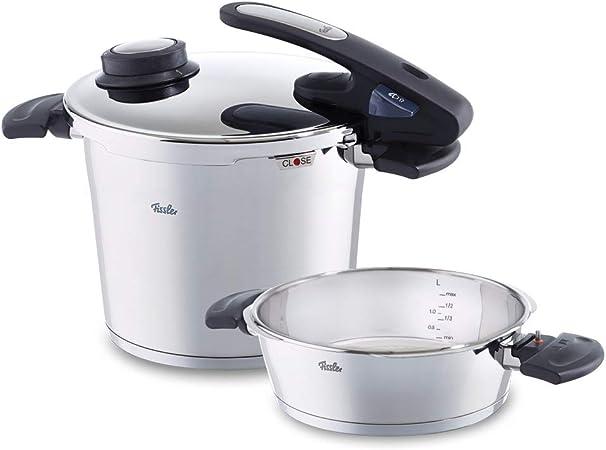 Fissler vitavit edition design Juego de ollas a presión (6 + 2,5 litros, Ø 22 cm) de acero inoxidable, 2 niveles de cocción, apta para cocinas de