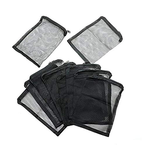 WEFOO 10 Pcs Aquarium Filter Media Bags for Pelletized Carbon, Bio Balls, Ceramic Rings, Ammonia Remover, Black