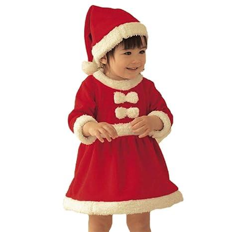 EDOTON Abito Natale per Bambine Natale Rosso Manica Lunga Costume Babbo Natale  Vestito con Cappello 2pcs 1d6b90b950f