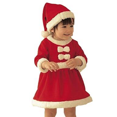 Navidad Vestidos de Niñas con Sombrero 2pcs Set Manga Larga Traje Fiesta de Navidad de Bebé